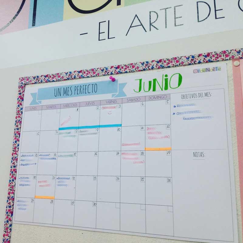 planificador mensual de pared