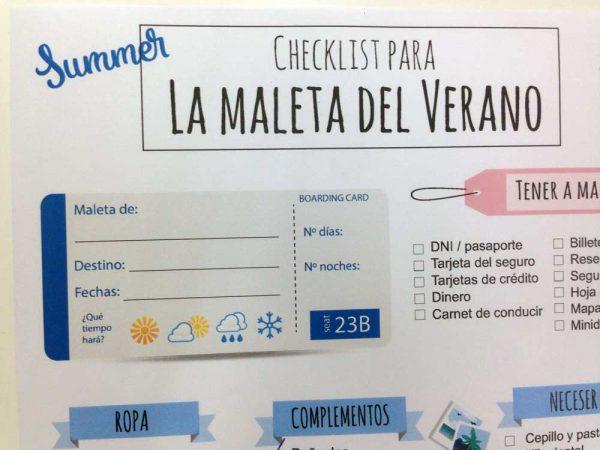 checklist para hacer la maleta