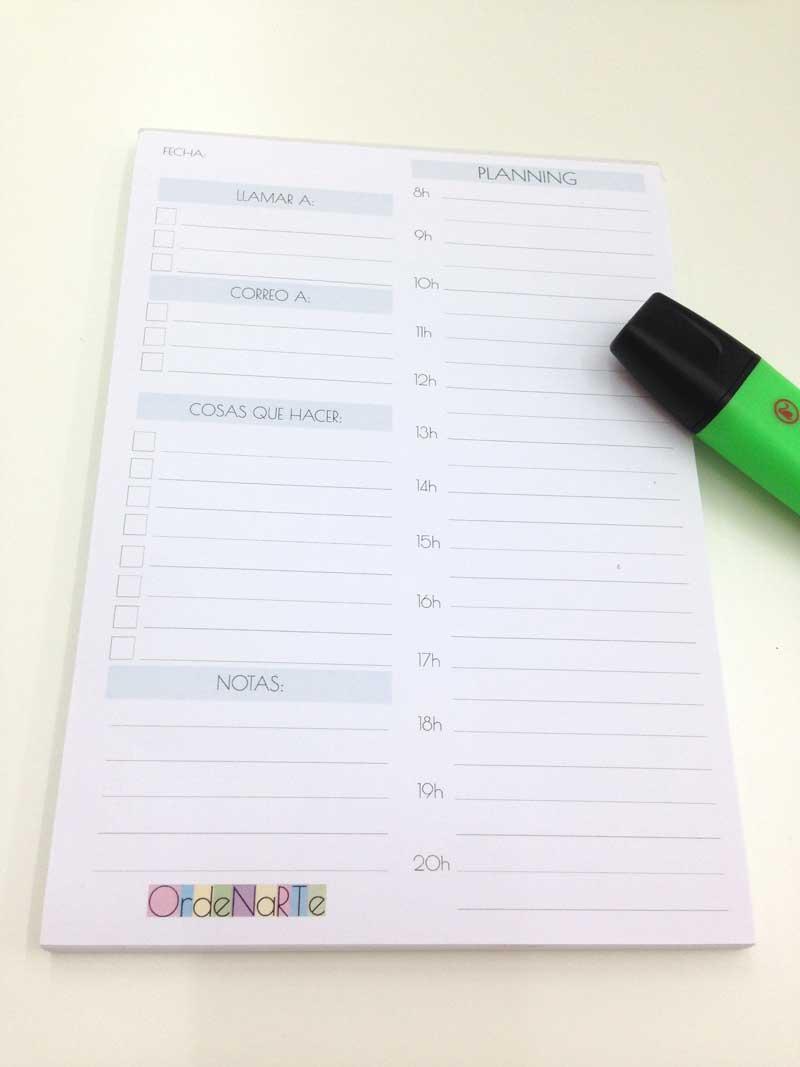 bloc de planificadores diarios