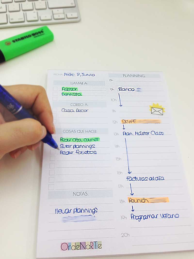planning diario descargable