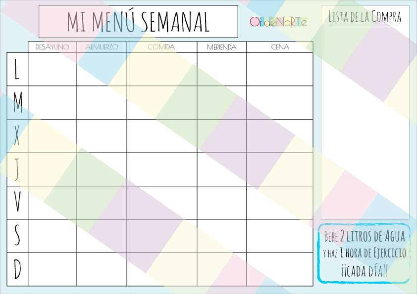 Planificador men semanal para organizarte la comida de la for Planificador cocinas gratis