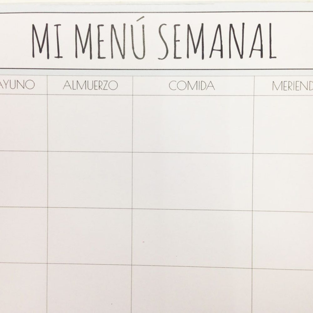 Aprende a organizar tu menú semanal