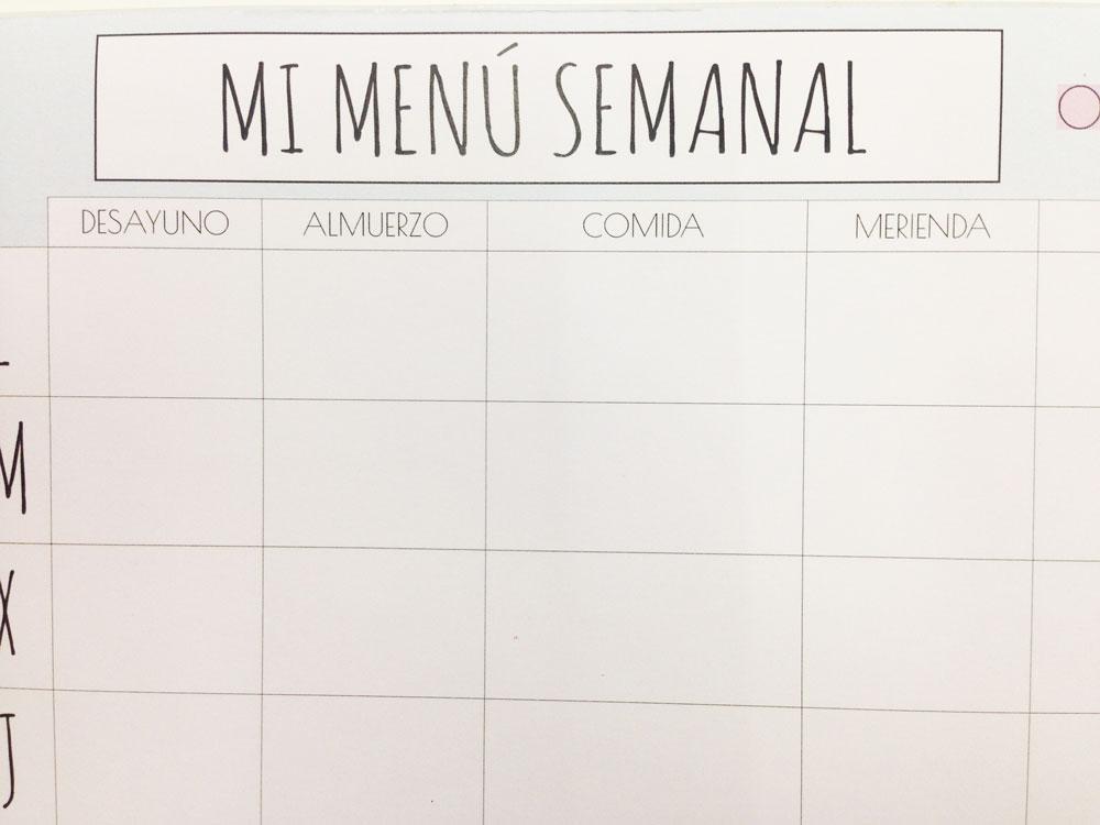 Operaci n bikini con este bloc organizador para tu men for Plan semanal de comidas