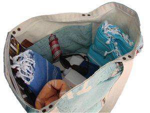 como hacer la bolsa de playa