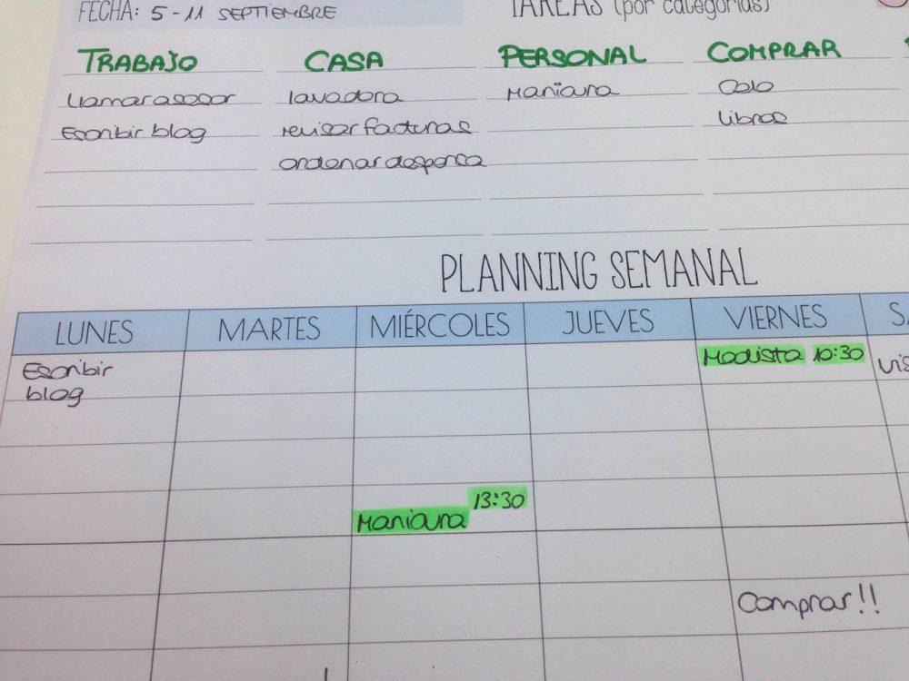 plan de la semana